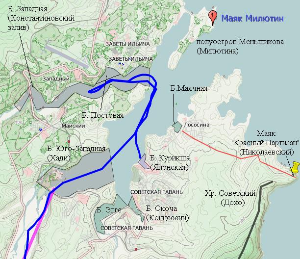 Схема Советской Гавани с указанными Арсеньевым топонимами и их современными эквивалентами